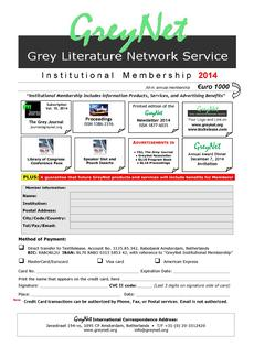 GreyNet Institutional Membership