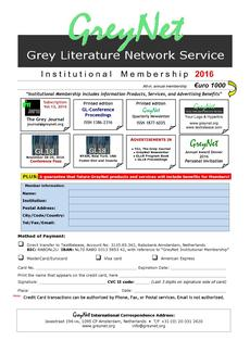 GreyNet Institutional Membership 2015