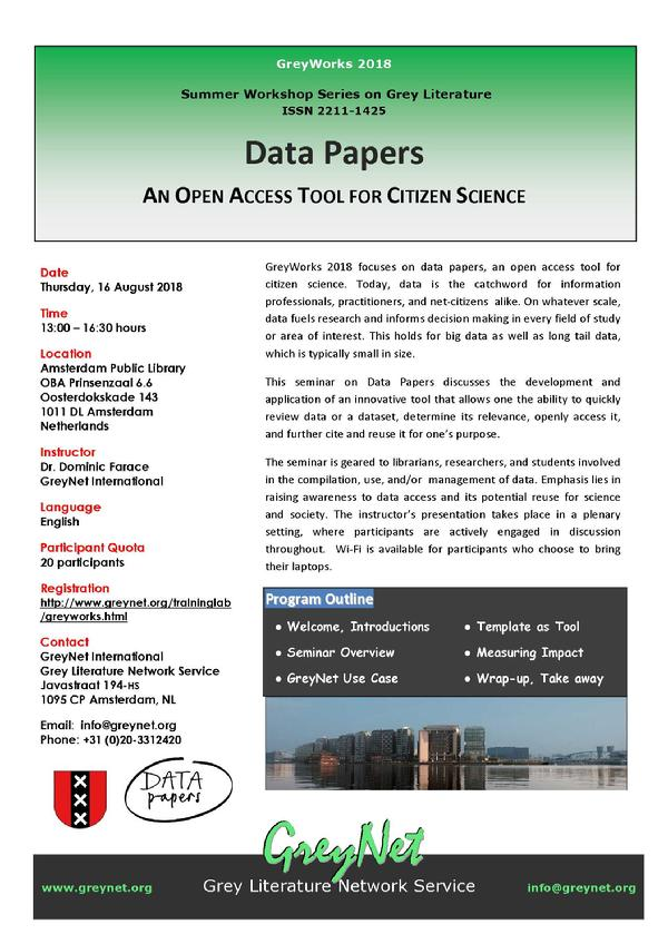 GreyWorks 2018 -Data Papers