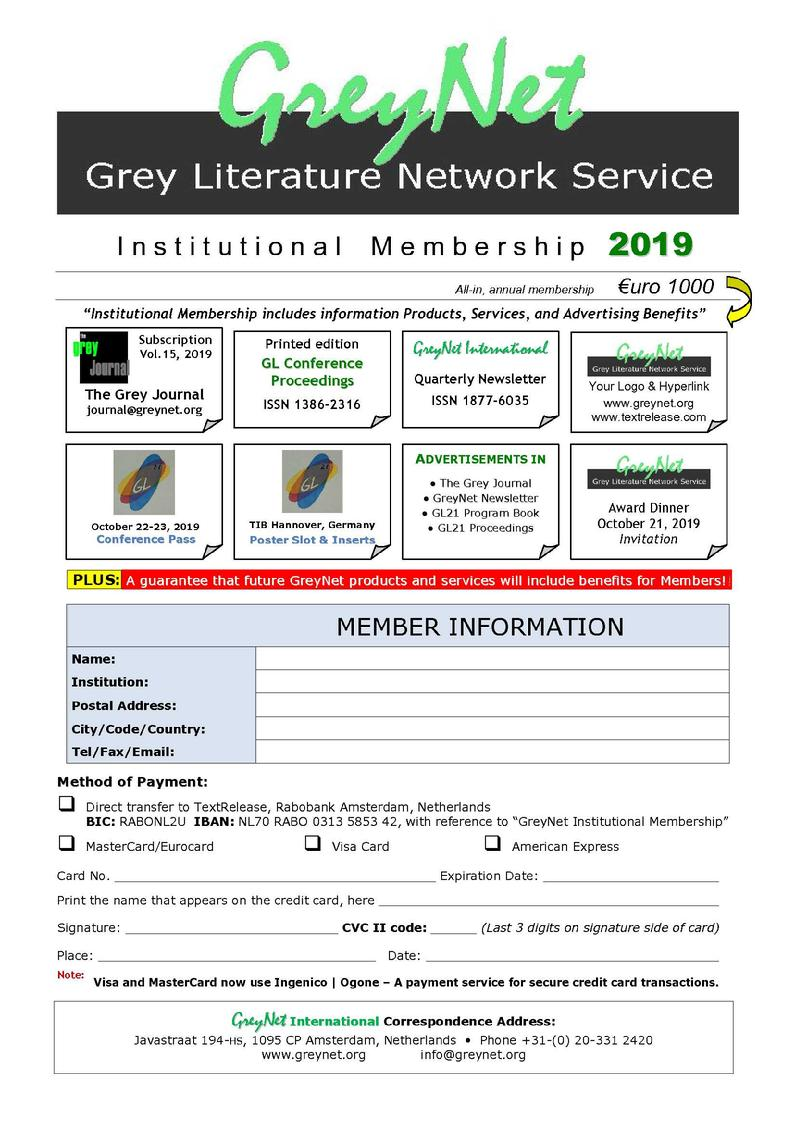 Grey Literature - GreyNet Institutional Membership
